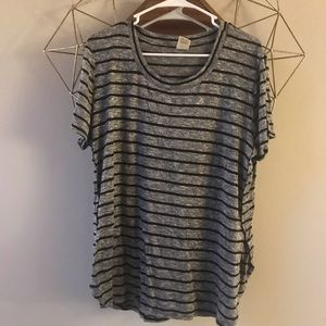 Black and grey striped xxl top